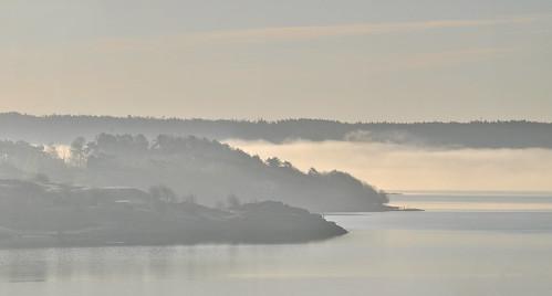 sea mist sunrise rocks sweden onsala forsbäck