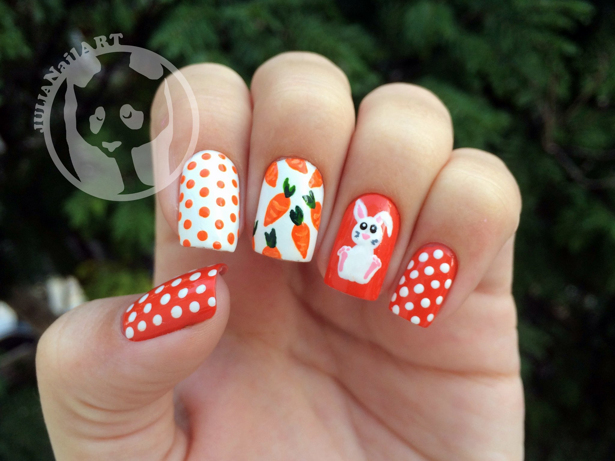 Carrot Polka Dots Easter Nail Art | Fun Easter Nails and Designs You Should Check Out