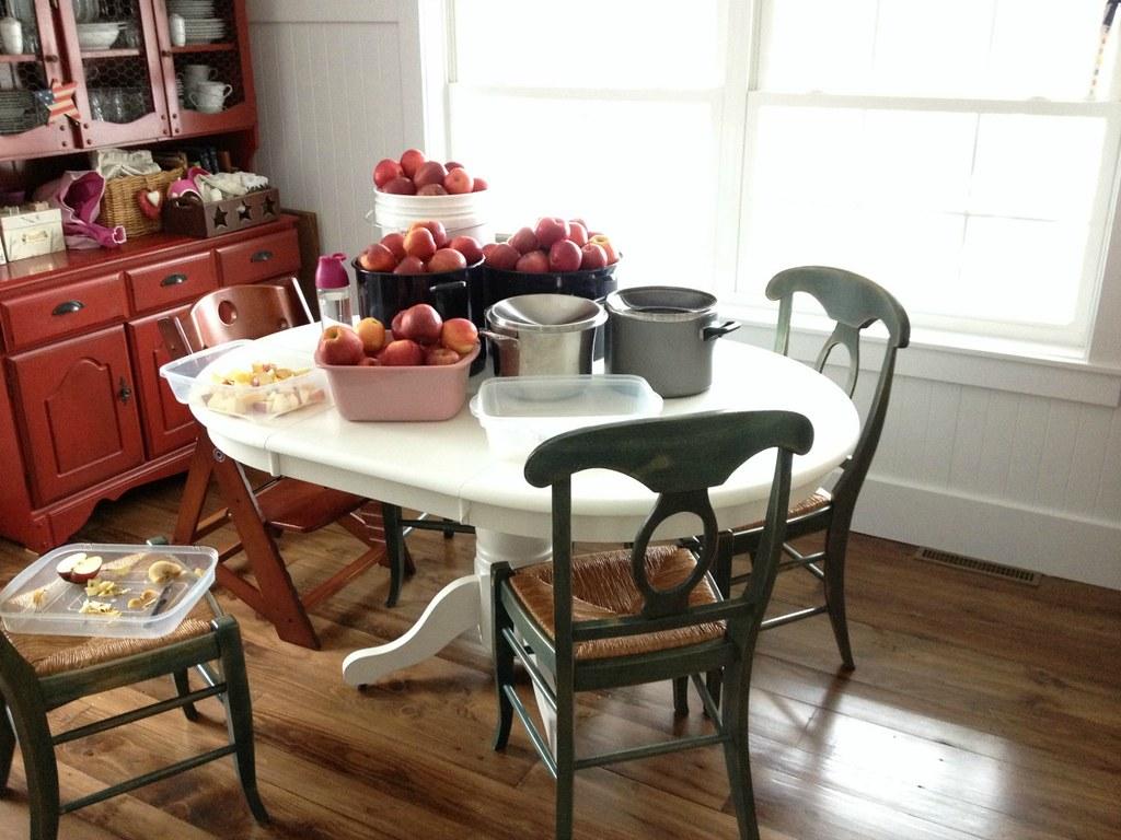 table full of apples