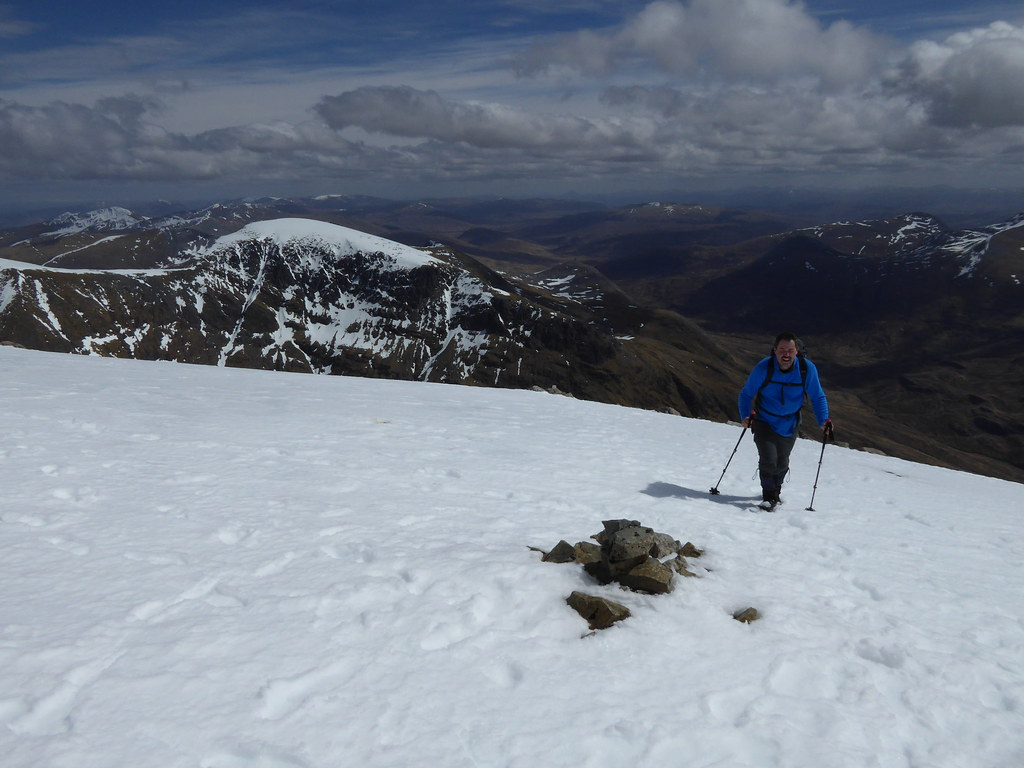 Emerging on to Ben Nevis plateau with Carn Mor Dearg behind