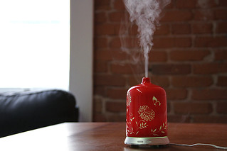 red, oriental themed essential oil diffuser misting | by yourbestdigs
