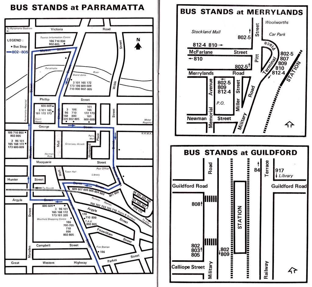 Hopkinsons (Smithfield, NSW) bus stands / bus interchanges at Parramatta, Merrylands and Guildford, NSW - 11 Sept 1986