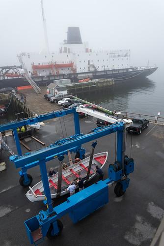 people fog landscape dock maine foggy streetphotography shipyard docked smalltown dingy boatlaunch castine mma mainemaritimeacademy boatcradle thestateofmaine