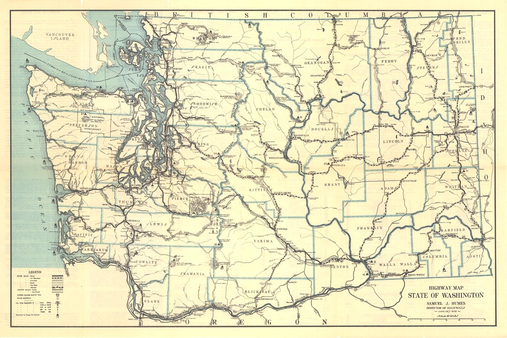 1932 Washington State Highway Map | Washington State Dept of ...