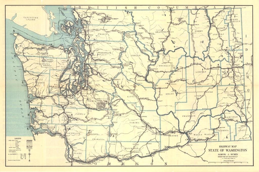 State Of Washington Map 1932 Washington State Highway Map | Washington State Dept of