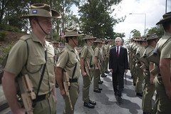 SECNAV reviews Royal Australian military personnel.