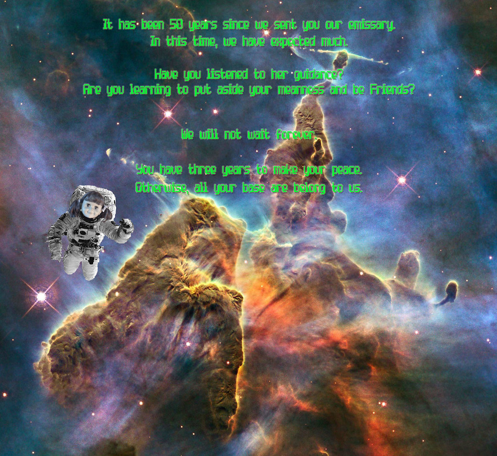 Designing greeting card or post card from an alien race using a