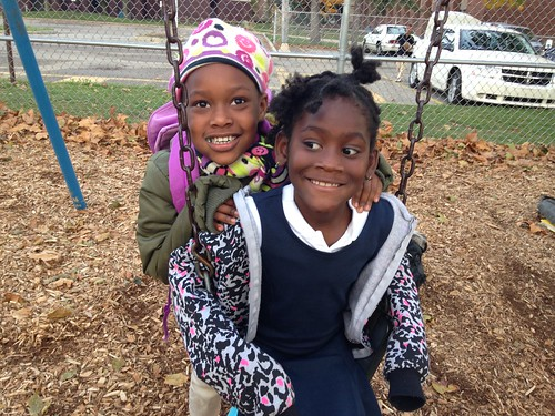 Black Girls Swing Playground After School Grand Rapids Montessori Lourdie 10-24-13 | by stevendepolo
