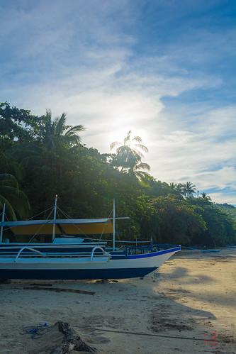 morning sun white beach sunrise boat sand palm phl philippinen barch negrosoccidental sipalay