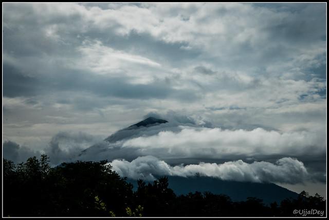 Cloud coverd Volcano