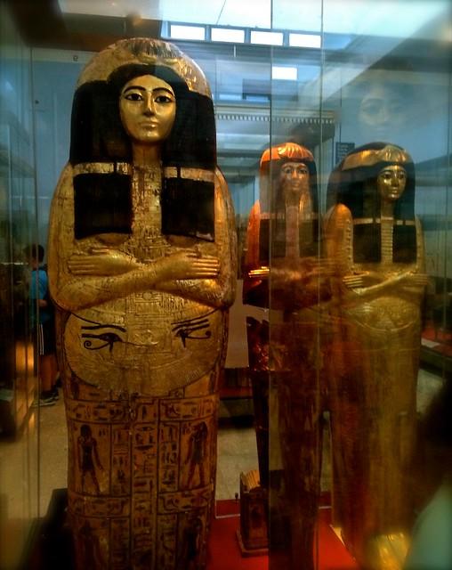Egyptian Mummy Cases, British Museum, London, April 2014