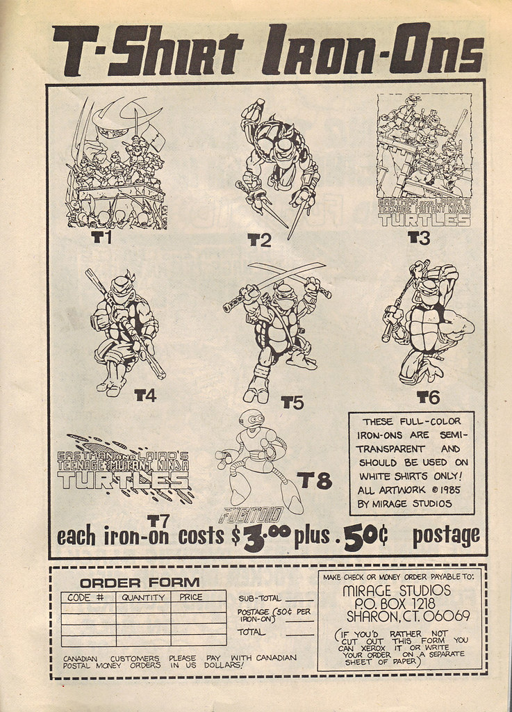 "The Original ""FUGITOID #1"" vii // TMNT T-shirt Iron-ons ad & order form (( 1985 )) by tOkKa"
