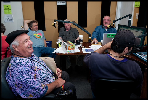 Veteran show hosts at WWOZ: Jellyroll Justice, David Torkanowsky, WWOZ General Manager David Freedman, and Jukebox Jack.  Johnny Woodstock on mic.  Photo by Ryan Hodgson-Rigsbee www.rhrphoto.com