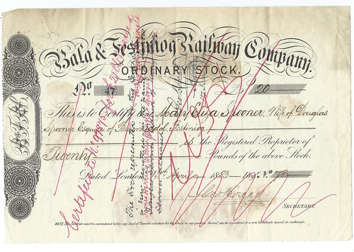 Bala and Festiniog Railway Stock certificate 1883 | by ian.dinmore