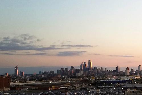 philadelphia water marina river sea skyline sunrise sky cloud clouds building buildings city cityscape