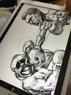 Muhammad Ali digital caricature sketch on iPad Pro + Apple Pencil in Procreate   by jit@portraitworkshop.com