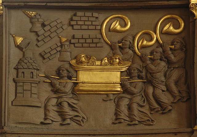 Meppen, Emsland, Gymnasialkirche, organ balcony, detail