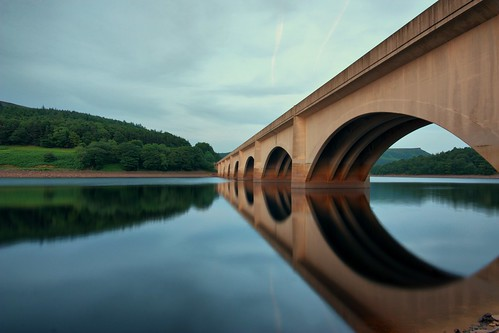 road park uk bridge blue trees summer england tree green water architecture canon reflections landscape evening scenery shadows view britain snake district derbyshire united great scenic sigma peak kingdom symmetry reservoir national edge symmetrical peakdistrictnationalpark ladybower a57 bamford 450d