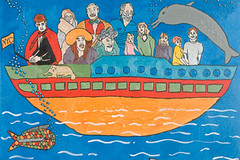 "Seth, Finny the Dog, Lois, Doug, Debra, Poppy, Francis Greenburger, Senna, Ann, Sidney, Zander and Ken on The Boat (16"" x 24"" acrylic on canvas)"