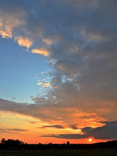 morning blue sky orange sun weather silhouette clouds sunrise dawn colorful horizon