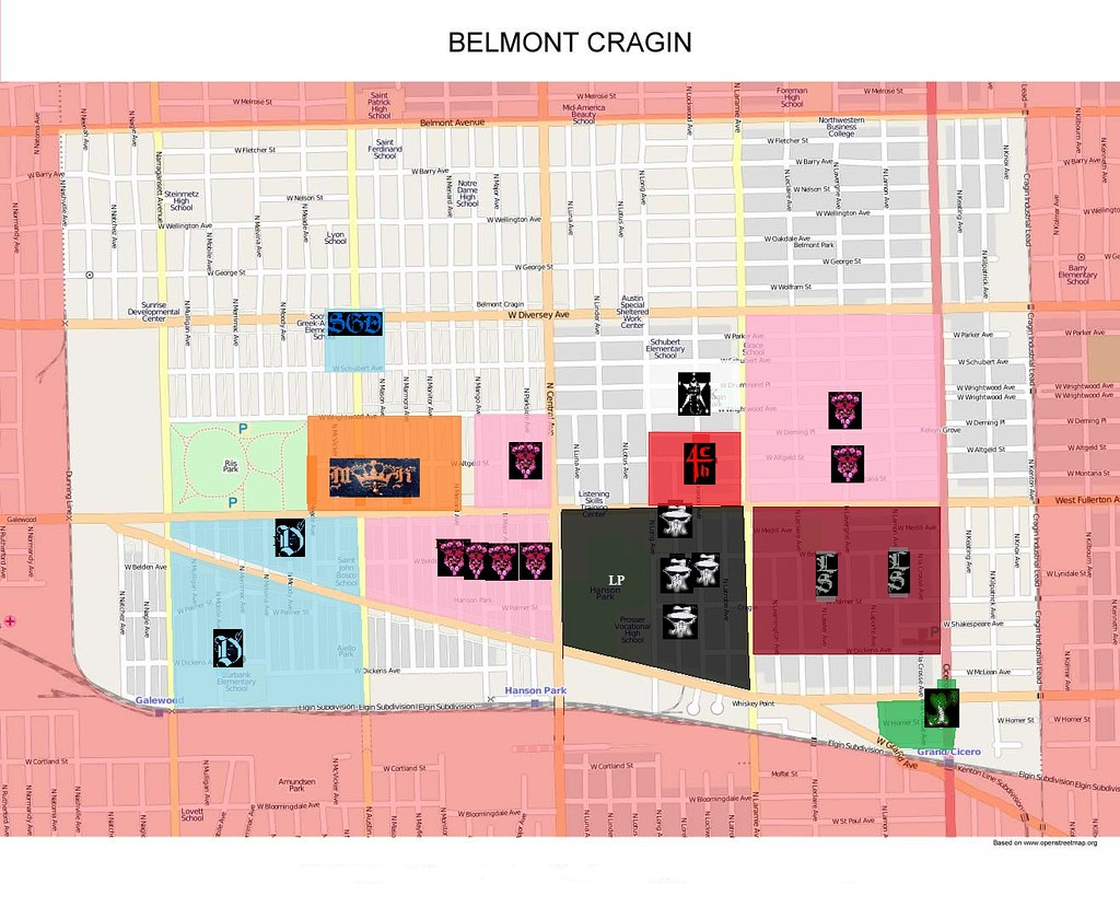Belmont Cragin Gang Map | Map of Belmont Cragin, Chicago ...