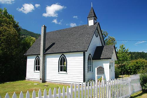 Burgoyne United Church near Fulford on Saltspring Island, Gulf Islands, Georgia Strait, British Columbia, Canada
