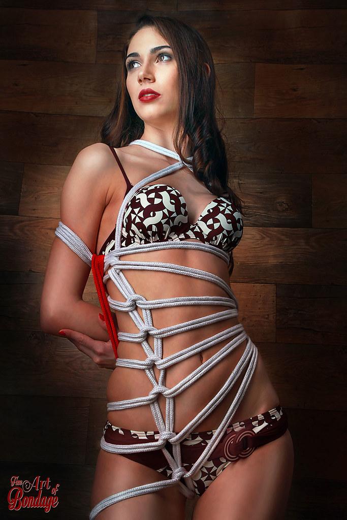 Bikini Bondage - Finr Art of Bondage   Bound with white