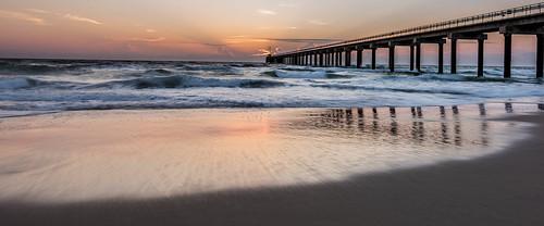 ocean seascape color beach sunrise reflections landscape dawn pier nikon waves outerbanks obx nikond810 140240mmf28