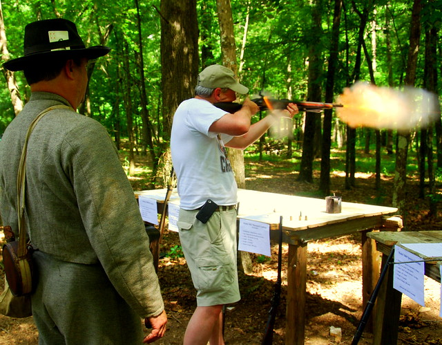 Firing an authentic Mississippi Rifle, vintage 1846