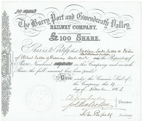 Burry Port and Gwendreath Valley Railway Share Certificate 1866 | by ian.dinmore