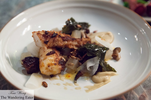 Grilled octopus with aubergine and mushrooms