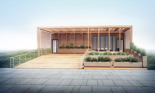 Yale Solar Decathlon 2015 House Rendering: Elevation 1 | by Dept of Energy Solar Decathlon