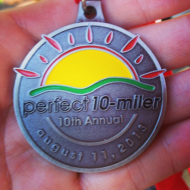 10 Miler medal. 1:21 finish. 2 minutes off last year, but I'll take it.