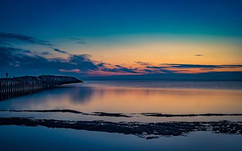 ocean blue sunset sky beach yellow clouds reflections denmark dk karrebæksminde enø regionzealand fotomalia1000
