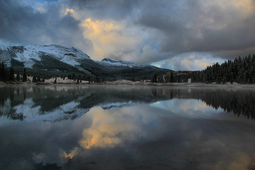 lake reflection water clouds sunrise dawn san colorado skyway molas juab