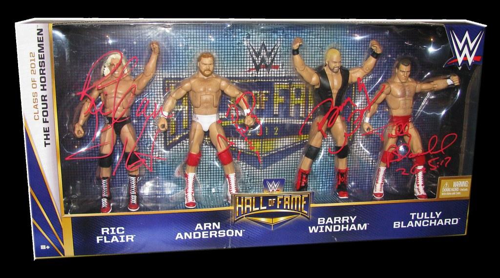 Ric Flair, Arn Anderson, Barry Windham & Tully Blanchard Autographed WWE Mattel Hall Of Fame Four Horsemen Figure 4-Pack