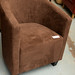 Brown fabric tub chair