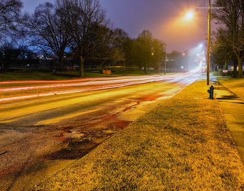 pentax2470f28edsdm noelridgepark carlighttrails iowa longexposure wet streetlights cedarrapids lighttrails councilst road pentaxk3ii commute pentax lights park unitedstates morning fog firehydrant