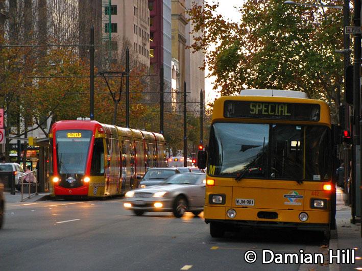 Glenelg Tram and MAN 442, King William Street, Adelaide by baytram366