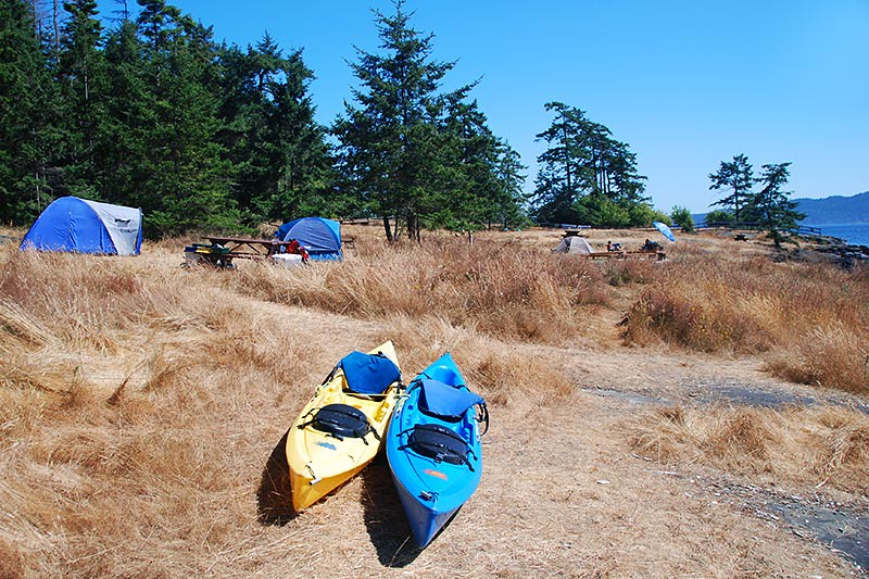 Campers and Kayakers at Ruckle Park, Saltspring Island, Gulf Islands National Park, British Columbia, Canada