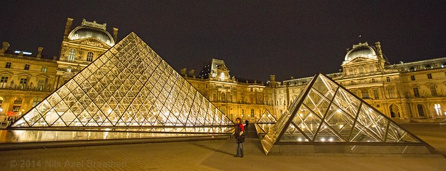 J77A0267 -- Pyramides of the Louvre by night