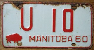 MANITOBA 1960--- U-DRIVE RENTAL PLATE