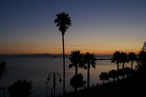 kos holiday ferie greece grækenland sunrise sky himmel blue palme hav sea coast harbour