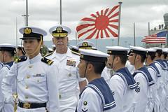 Adm. Scott Swift, commander of U.S. Pacific Fleet, inspects Japan Maritime Self-Defense Force sailors June 1 during a training squadron visit. (U.S. Navy/MC2 Tamara Vaughn)