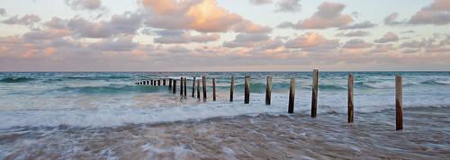 ocean beach water sunrise pier wave wideangle adelaide southaustralia moanabeach canon5dmarkii