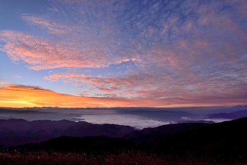 雲海 諏訪湖 朝焼け 高ボッチ