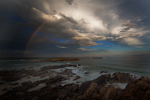 ocean sunset clouds rainbow rocks pacific australia nsw headland sawtell
