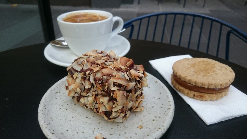 Lamington Aud5 50 Caramel Almondjaws Long Black Coffee A Flickr