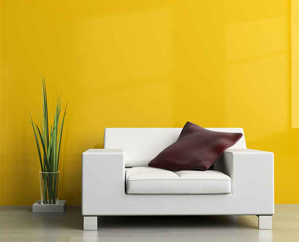 Wall Colour Shades for Living Room Interiors | Bright yellow ...