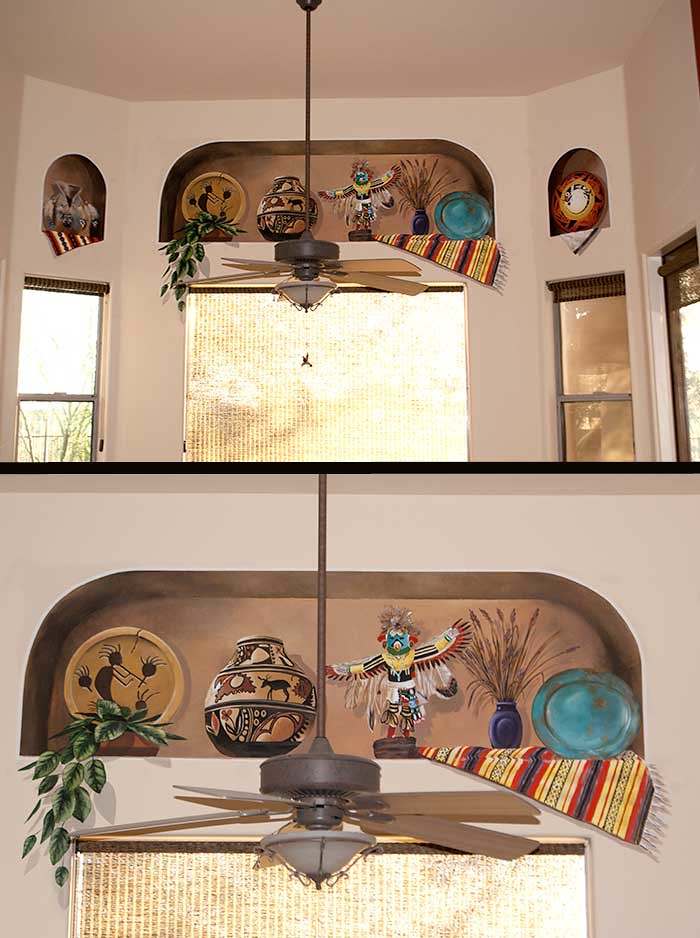 Trompe-L'oeil-niches-with-Native-American-Decor | Caroline